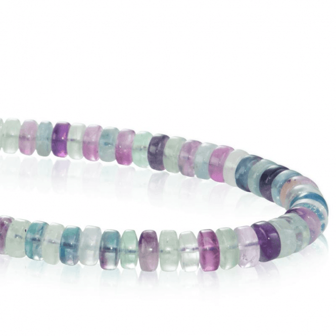 Shipton and Co Ladies Shipton and Co Silver and 8mm Disc Shaped Multi Coloured Flourite Beads 18 Inches Long BFE006FL