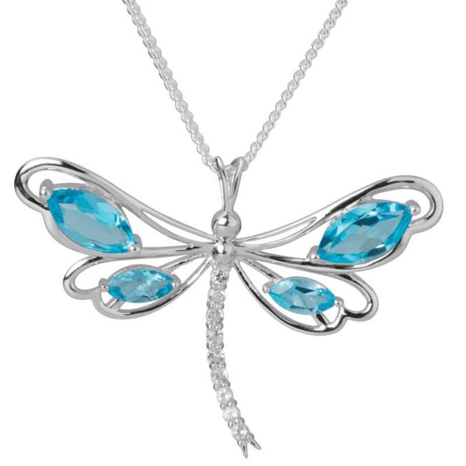 Swiss Blue Topaz Dragonfly Pendant