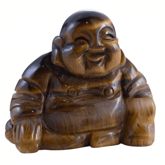 Shipton and Co One and a Half Inch Tiger Eye Buddha Carving CMH017TE