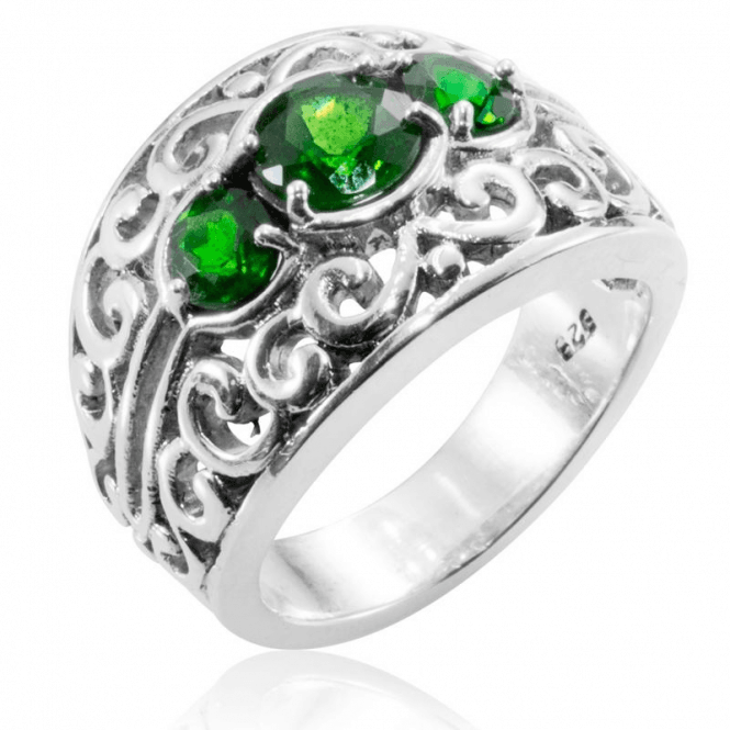Ladies Shipton and Co Silver Green Fire Diopside Scrollwork Ring RQA390DO