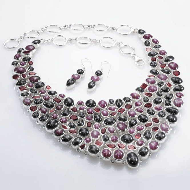 Shipton and Co Ladies Shipton and Co  Silver Ruby and Star Diopside and Garnet Hand Made Necklace TJP011MU