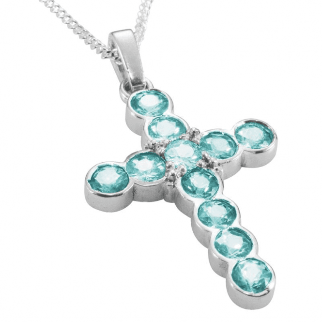 Shipton and Co Ladies Shipton and Co Exclusive Silver and 11 5mm Round Blue Zircons Cross Pendant including a 16 Silver Chain PQA389BZ