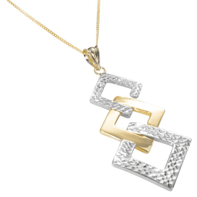 "Shipton and Co Ladies Shipton and Co  9ct Yellow and White Gold Graduated Squares Pendant including a 16"" 9ct Chain  TEM036NS"