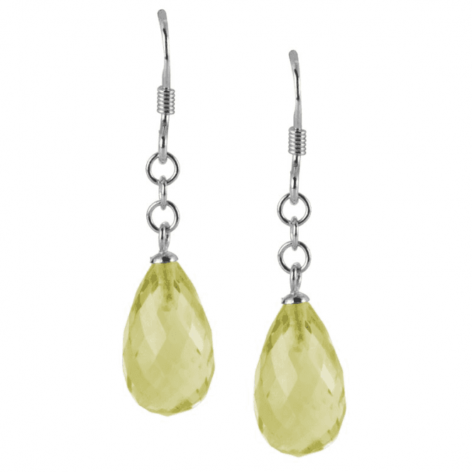 Ladies Shipton and Co  Silver and 13x8mm Faceted Green Quartz Briolette Drop Earrings TYS119GQ