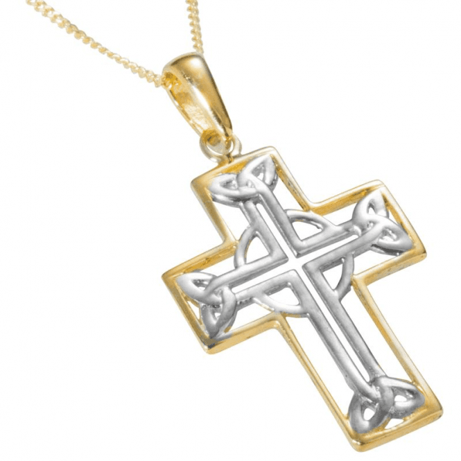 Ladies Shipton and Co 9ct Yellow and White Gold Celtic Cross Pendant including a 16 9ct Chain TEM028NS