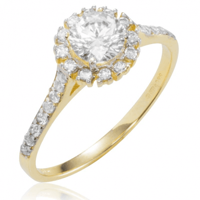 Shipton and Co Ladies Shipton and Co 9ct Yellow Gold and Cubic Zirconia Cluster Ring with Stone Set Shouldders TEM021CZ