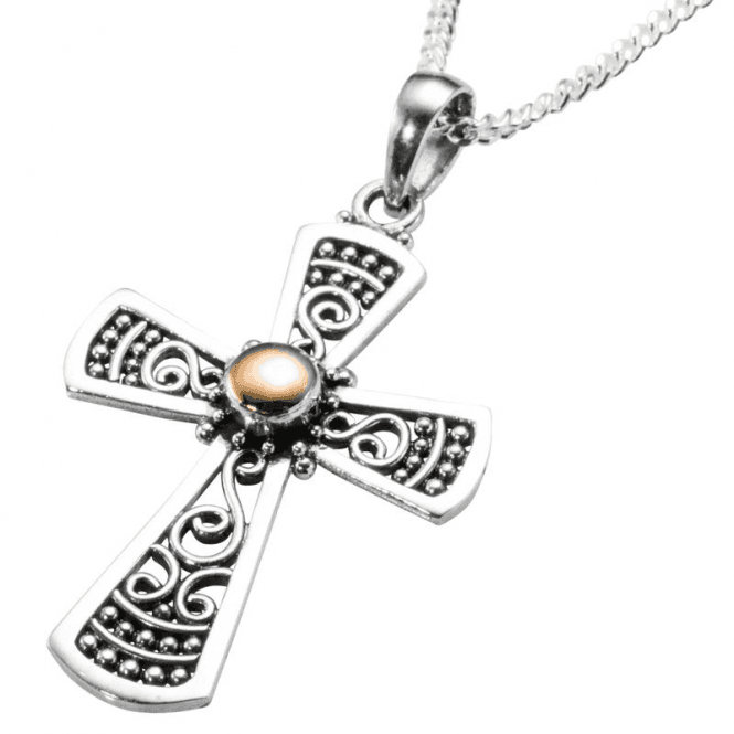 Byzantine Cross of Silver & Rose Gold