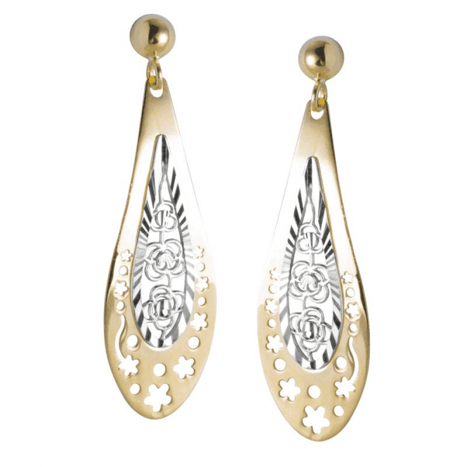 Ladies Shipton and Co 9ct Yellow and White Gold Filigree Centre Pearshaped Drop Earrings TAR572NS