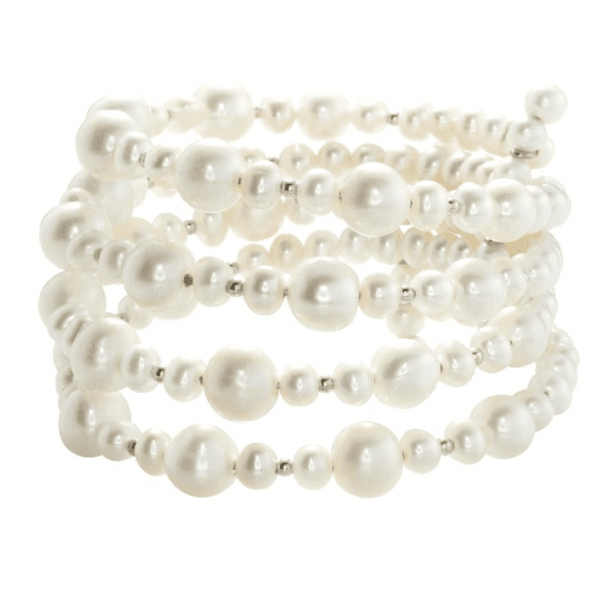 Shipton and Co Ladies Shipton and Co  Silver and 5.5-8mm Freshwater Pearls and Silver Beads 4 Row FLexible Bangle TEN025FP