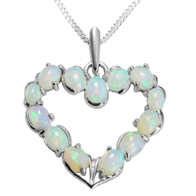"Ladies Shipton and Co Exclusive Silver and Opal Pendant including a 16"" Silver Chain PQA396OP"