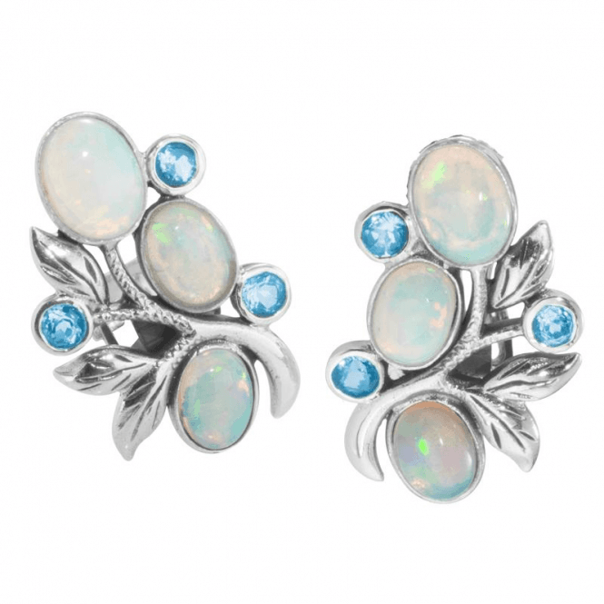 Shipton and Co Ladies Shipton and Co  Silver and Oval Opals and Blue Topaz in a Foliate Stud Earring  EQA388OPBT