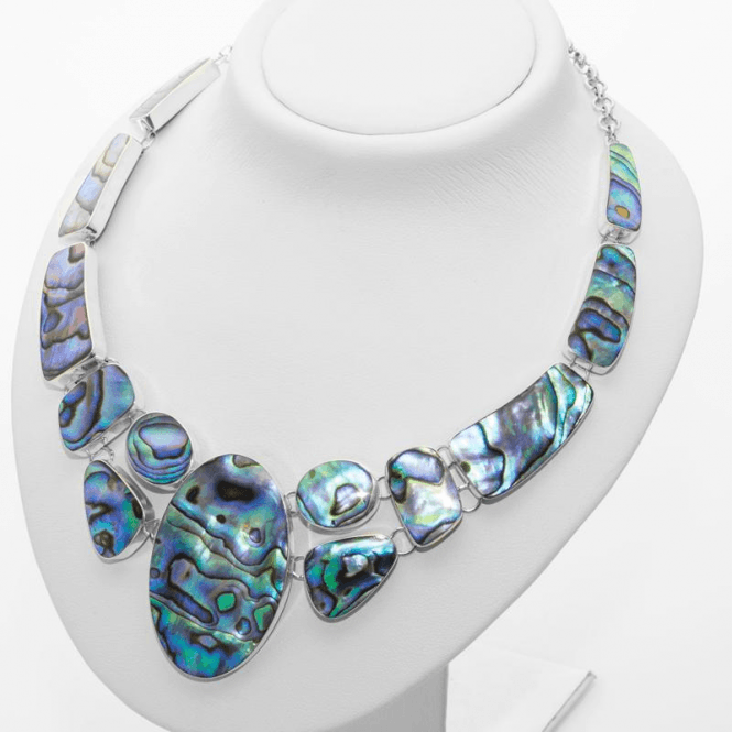 Ladies Shipton and Co Silver Oval Centre and Random Shapes Paua Shell Necklace TFE026PA