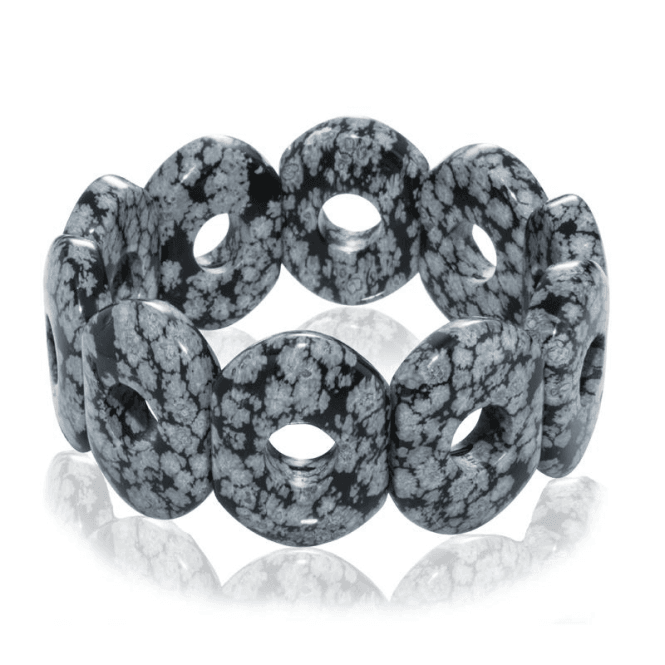 Shipton and Co Ladies Shipton and Co Snowflake Obsidian Doughnut Shaped Beads Expanding Bracelet BFE007OB