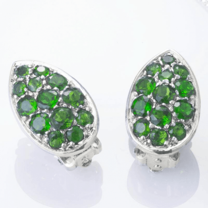 Shipton and Co Ladies Shipton and Co  Silver Green Fire Diopside Pave Teardrop Shaped Clip Fitting Earrings for Unpierced Ears   EQA391DO=C