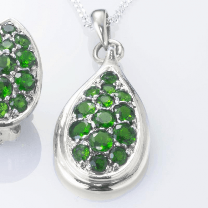 "Shipton and Co Ladies Shipton and Co Exclusive Silver Green Fire Diopside Pave Teardrop Shaped Pendant including a 16"" Silver Chain  PQA391DO"
