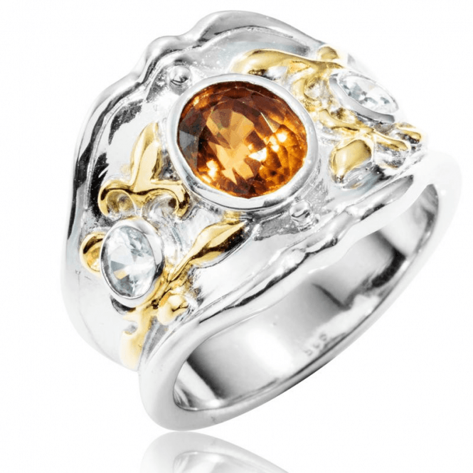 Shipton and Co Ladies Shipton and Co Silver and Gold Brown and White Natural Zircon Ring RQF001ZR