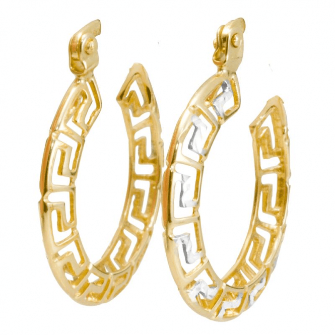 Ladies Shipton and Co 9ct Yellow and White Gold Greek Key Pattern Hoop Earrings TEM033NS