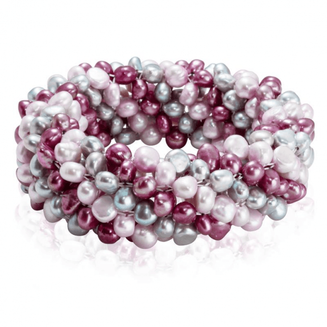 Luxuriant Twist of Cranberry Pink and Grey Pearls