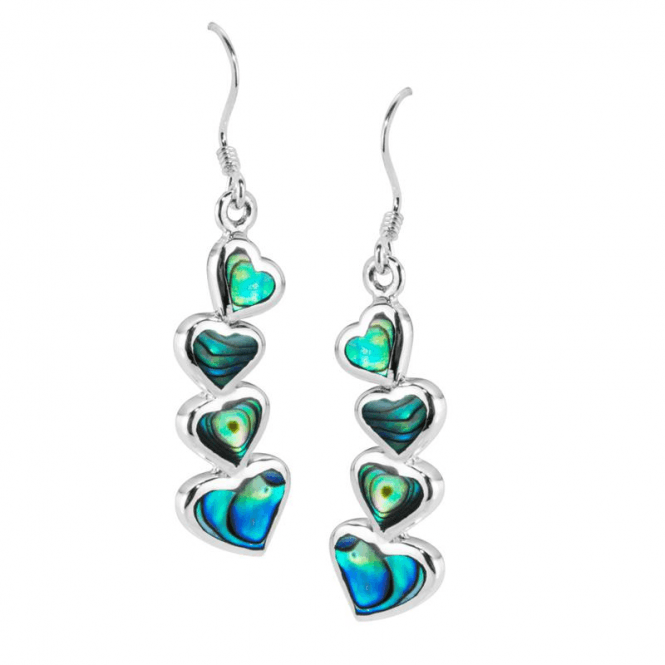 Ladies Shipton and Co Silver and 4 Graduated Paua Shell Hearts Drop Earrings TDA082PA
