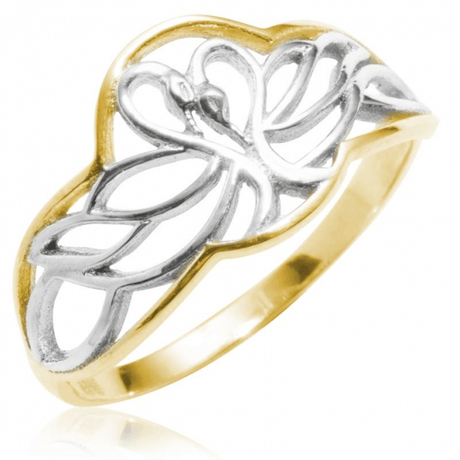 Sculptural Ring of 9ct Gold Swans