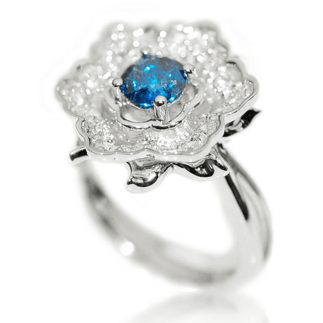 Ladies Shipton and Co Exclusive 9ct White Gold Blue Diamond and White Diamonds 1.03cts Ring RWD101DI
