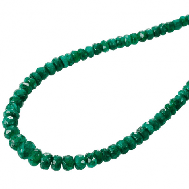"""3-4mm Grad. Faceted Emerald Beads 18"""" Silver Trigger"""