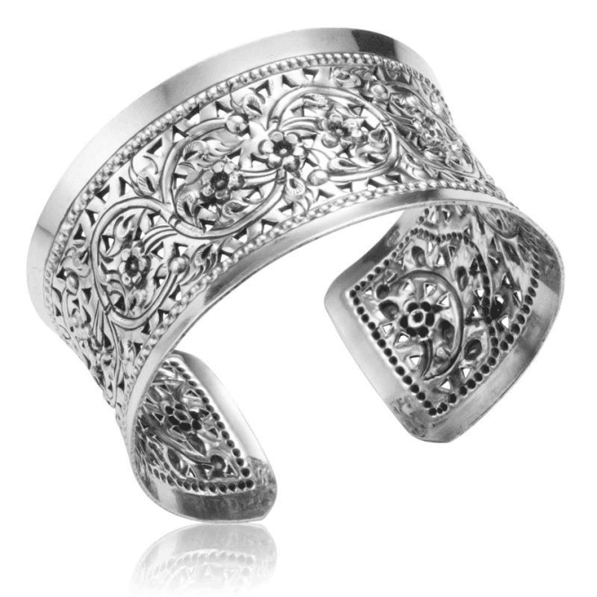 Ladies Shipton and Co Silver Flowers and Scrollwork Cuff Bangle TDA084NS