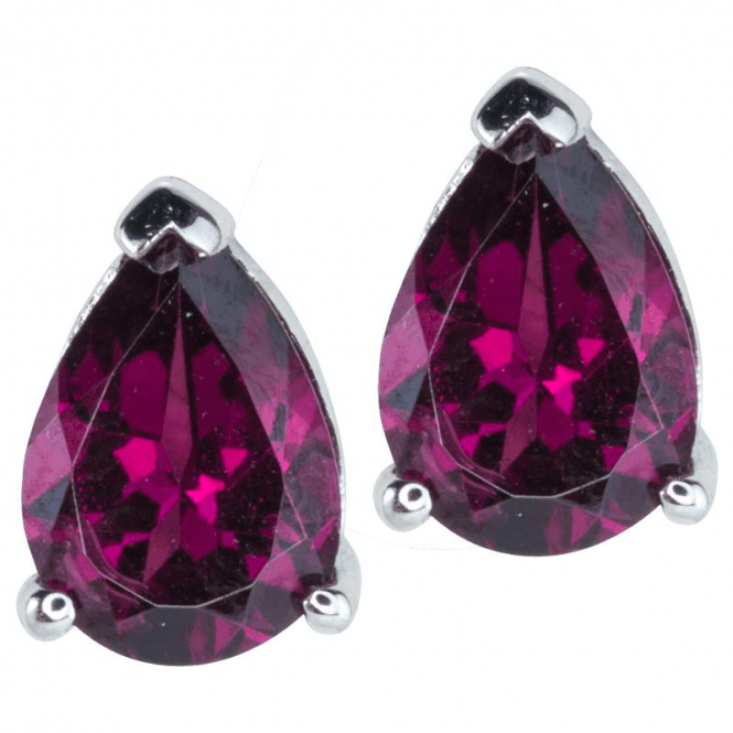 Ladies Shipton and Co Silver and 7x5mm Pearshape Rhodolite Garnet Claw Set Earrings EQA074RH