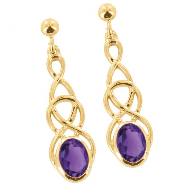 Ladies Shipton and Co Exclusive 9ct Yellow Gold and Amethyst Earrings EY1866AM