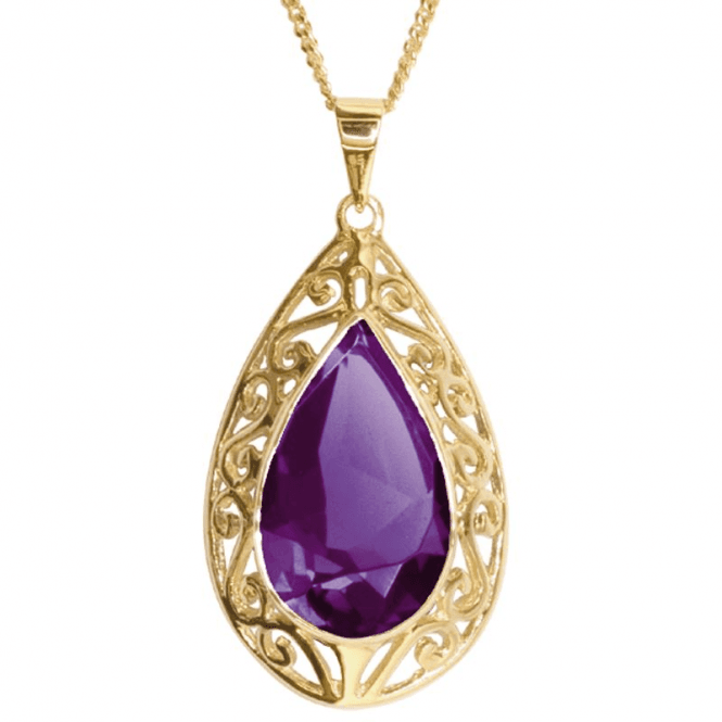 Shipton and Co 9.50ct Amethyst Teardrop Pendant in 9ct Gold