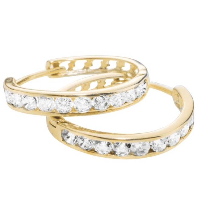 Ladies Shipton and Co 9ct Yellow Gold and Cubic Zirconia Channel Set Earrings TEM024CZ