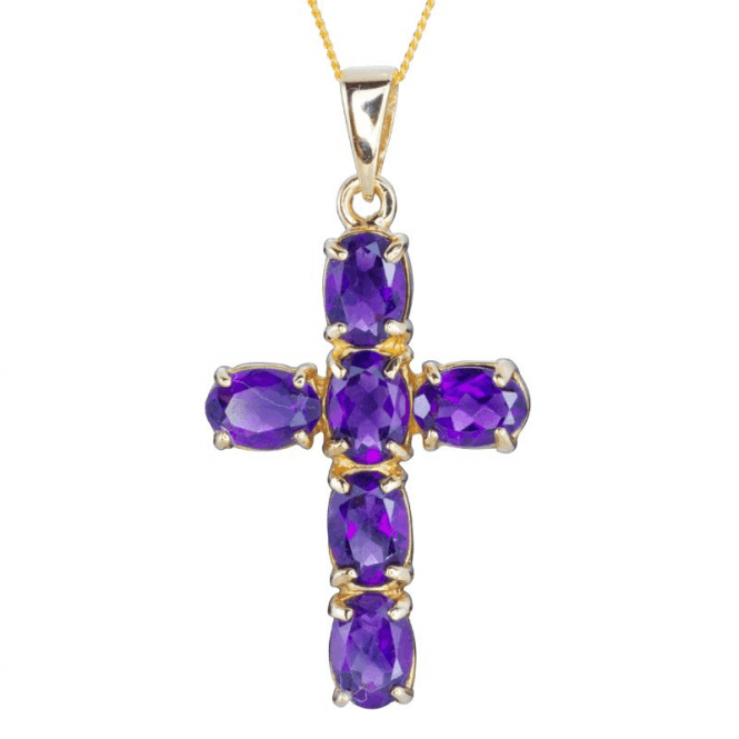 9ct Gold & Amethyst Cross