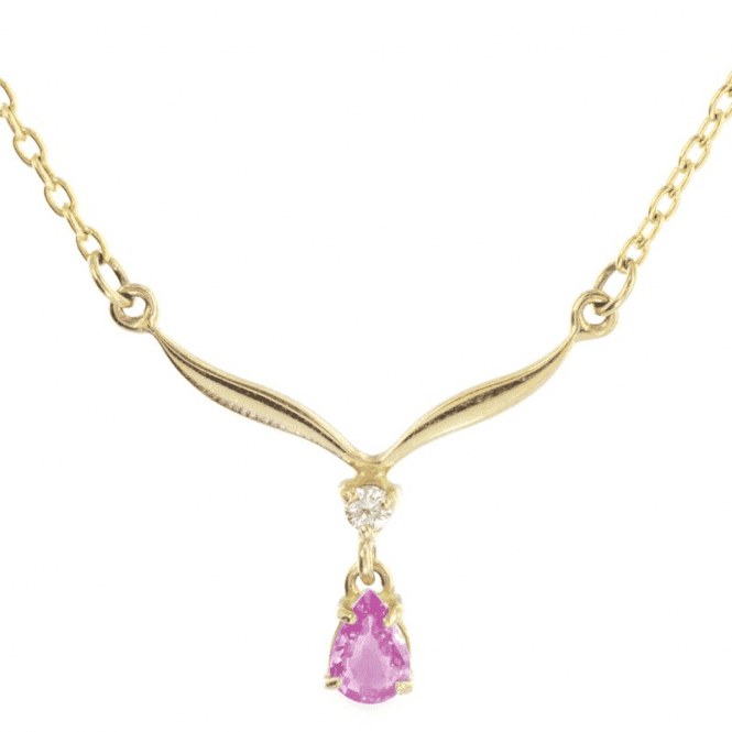 Shipton and Co Ladies Shipton and Co Exclusive 9ct Yellow Gold Diamond and Pearshaped Drop Pink Sapphire Necklace NYX136PS