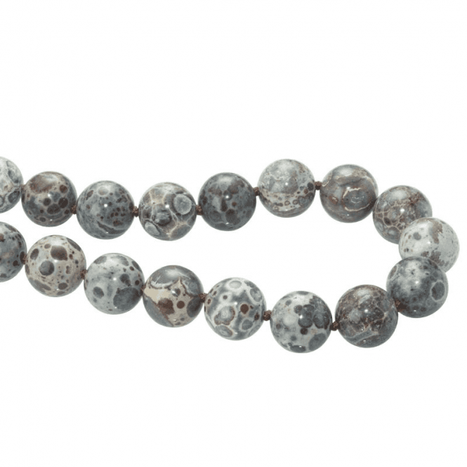 Shipton and Co Ladies Shipton and Co  Silver and 14mm Dalmation Jasper Beads 28 Inches Long BFE019JA