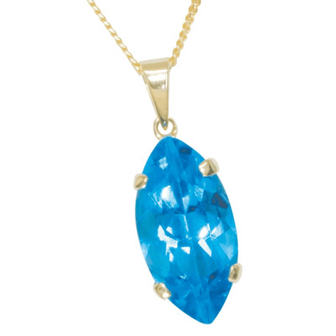 Electric Blue Reflection of Topaz, Marquise Blue Topaz Pendant