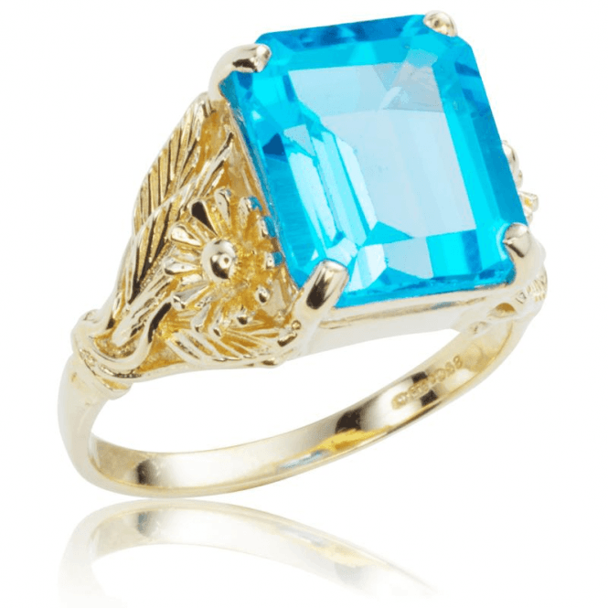 Shipton and Co Ladies Shipton and Co Exclusive 9ct Yellow Gold and Blue Topaz  Ring RY1445BT
