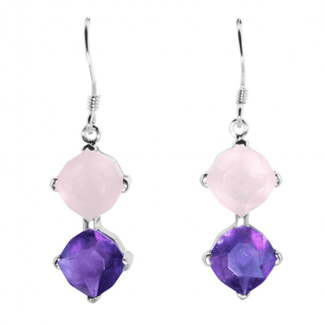 Shipton and Co Ladies Shipton and Co  Silver Faceted Rose Quartz and Amethyst  Drop Earrings TYS107AMRQ