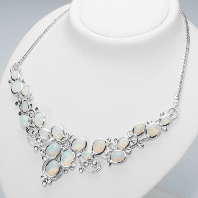 Ladies Shipton and Co Exclusive Silver and 19 Oval Opals Leaf and Scroll Design Necklace NQA406OP
