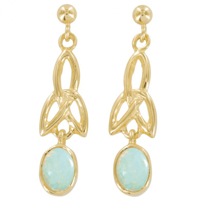 Shipton and Co Ladies Shipton and Co Exclusive 9ct Yellow Gold and Opal Earrings EY1746OP