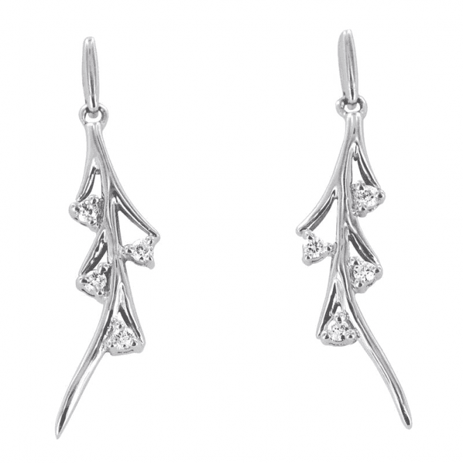 Ladies Shipton and Co Exclusive 9ct White Gold and 8 brilliant Cut Diamond Drop Earrings EWD020DI