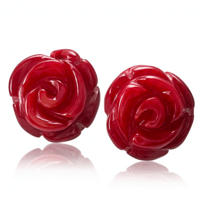Hand Carved Coral Rose Earrings