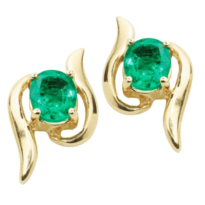 Emerald Scroll Earrings