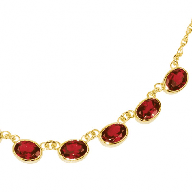 Ladies Shipton and Co Exclusive 9ct Yellow Gold and Garnet Necklace NY1654GR