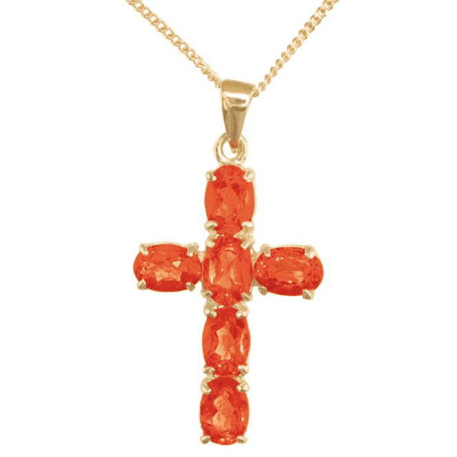 Ladies Shipton and Co 9ct Yellow Gold and Fire Opal Pendant including a 16 9ct Chain PY1460FO