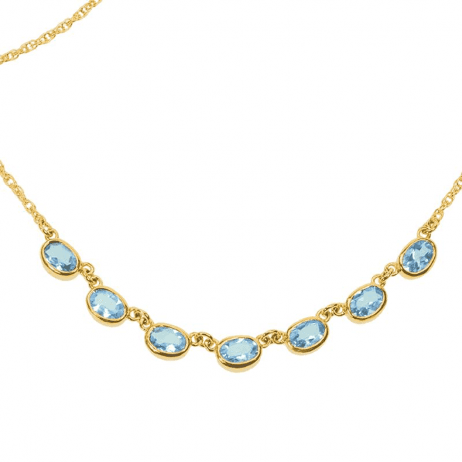 Shipton and Co Ladies Shipton and Co Exclusive 9ct Yellow Gold and Aquamarine Necklace NY2079AQ