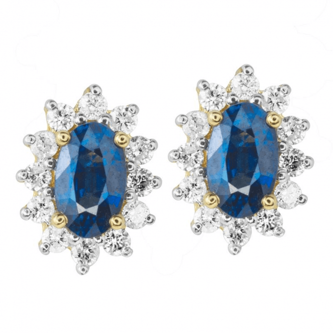 Ladies Shipton and Co Exclusive 9ct Yellow Gold classic Cluster Blue Sapphire Earrings EYD061BSD