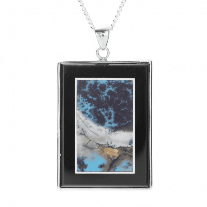 Ladies Shipton and Co Silver 35x25mm Rectangular Landscape Agate Pendant including a 16 Silver Chain TOJ190AG