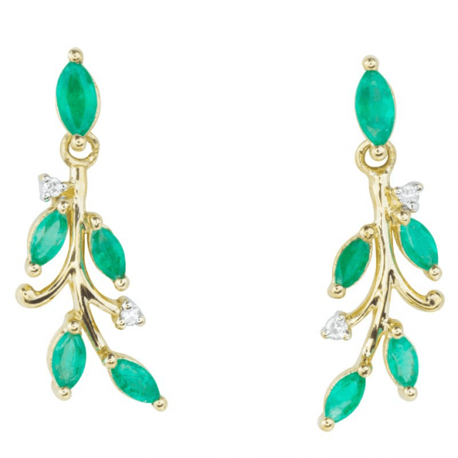 Shipton and Co Ladies Shipton and Co Exclusive 9ct Yellow Gold Spring Emerald And Diamond Earrings EYD013EMD