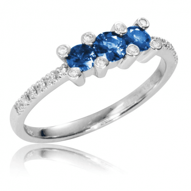 Shipton and Co Ladies Shipton and Co Exclusive 18ct White Gold Diamond and Blue Sapphire Trilogy Ring TMS020BSD
