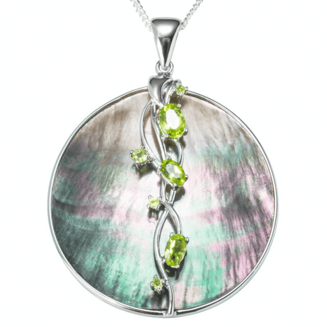 Ladies Shipton and Co Silver and Black Mother of Pearl Disc with Peridots Pendant including a 16 Silver Chain TTL252PMPE